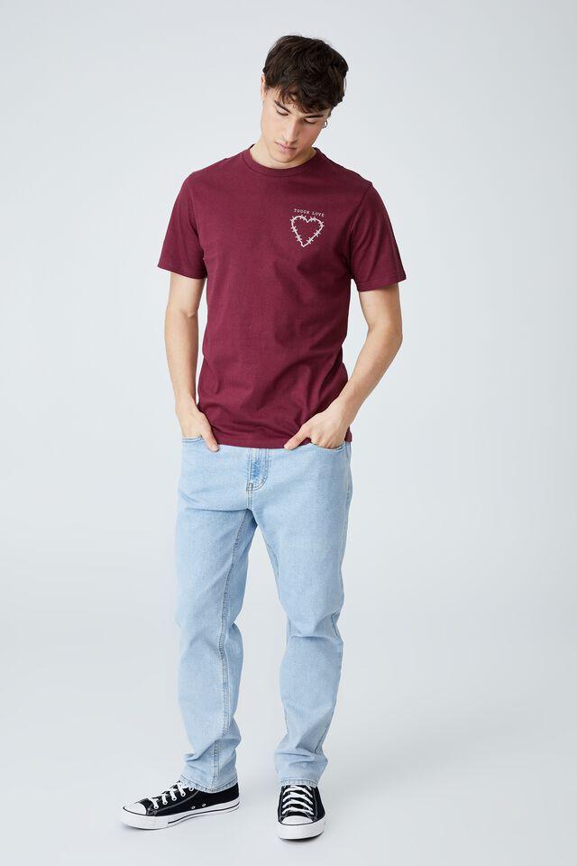 Tbar Art T-Shirt, BURGUNDY/TOUGH LOVE