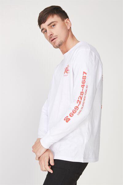 Tbar Long Sleeve, WHITE/MONDO WAVE CLUB