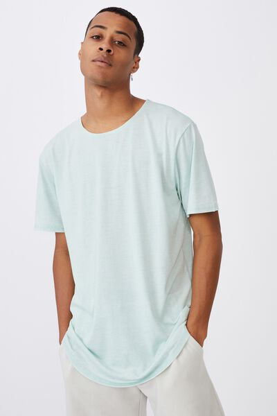 Longline Scoop Burnout T-Shirt, MIST BLUE