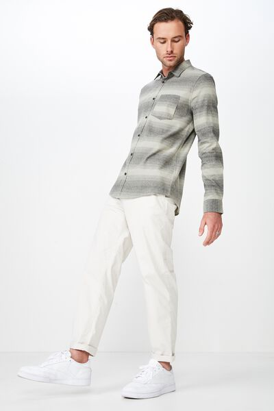 fb863396a0be0e Rugged Long Sleeve Shirt, GREY FADED STRIPE. Cotton On Men