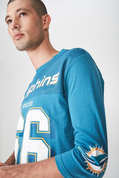 Tbar 3/4 Baseball Tee, LC METHYL BLUE/MIAMI DOLPHINS