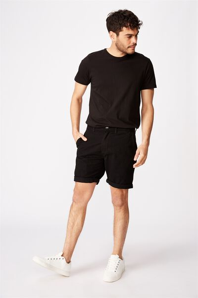 Washed Chino Short, BLACK