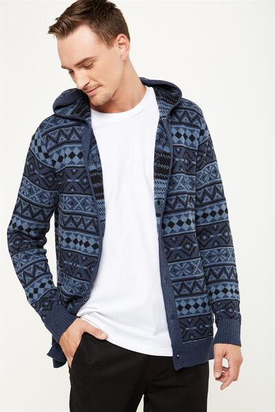Rugged Hooded Cardi, NAVY JACQUARD