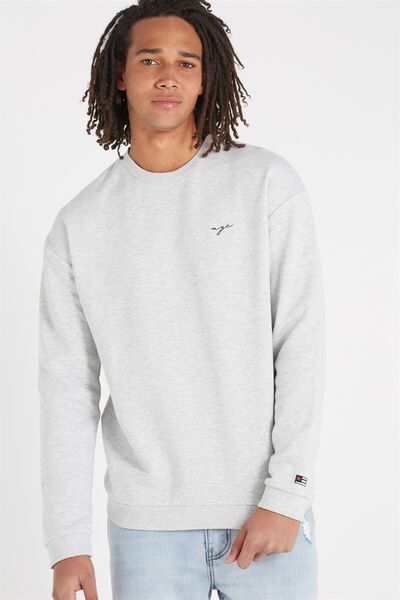 Drop Shoulder Crew Fleece, LIGHT GREY MARLE/NYC SCRIPT