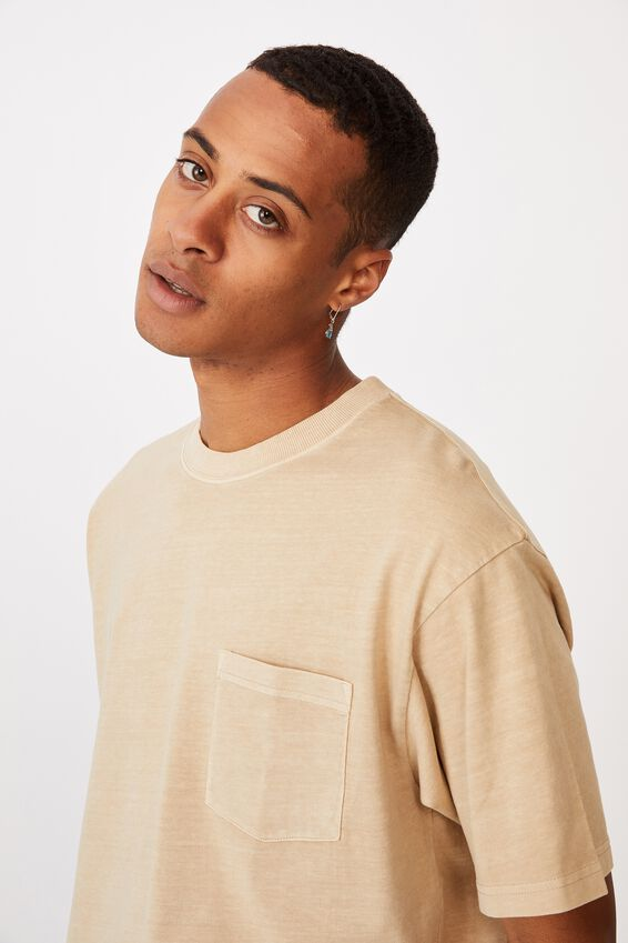 Washed Pocket T-Shirt, CLAY STONE