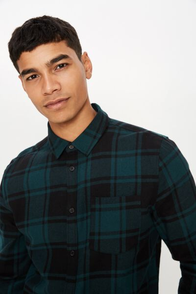 Rugged Long Sleeve Shirt, NAVY GREEN CHECK