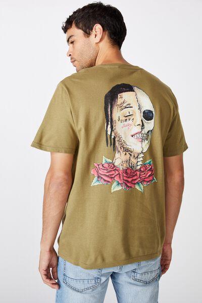 Tbar Collab Music T-Shirt, LCN WMG BLAIR KHAKI/LIL SKIES - ROSES