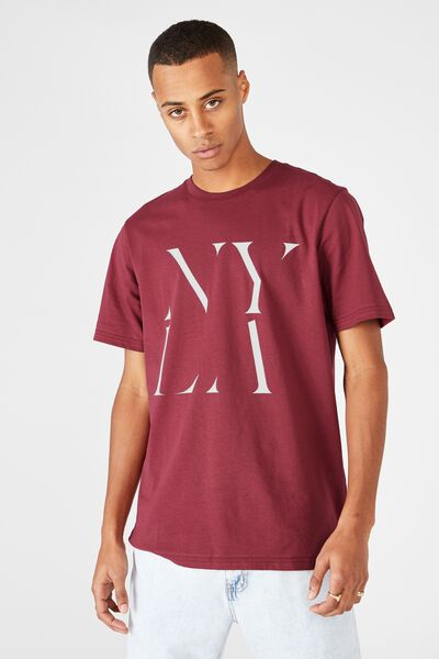 Tbar Text T-Shirt, ROSEWOOD/NY LA STACKED