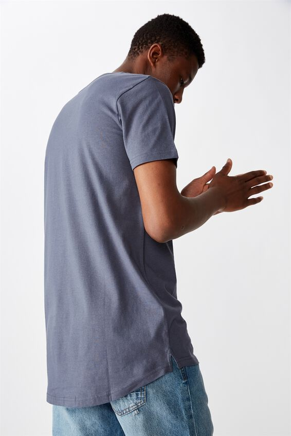 Essential Longline Scoop T-Shirt, DUSTY DENIM