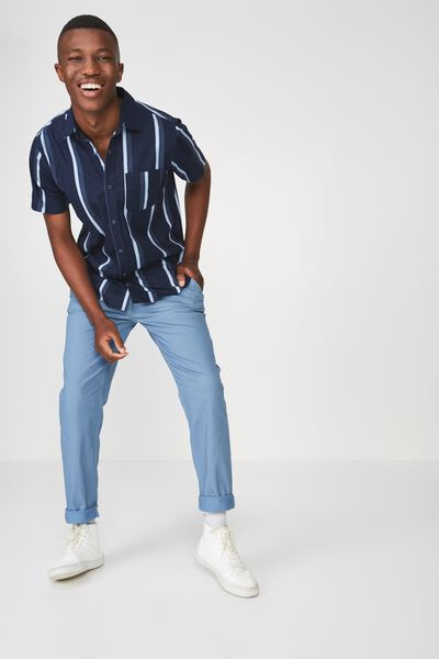 Vintage Prep Short Sleeve Shirt, NAVY BOLD STRIPE