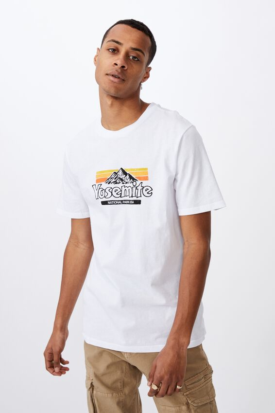 Tbar Souvenir T-Shirt, WHITE/YOSEMITE NATIONAL PARK