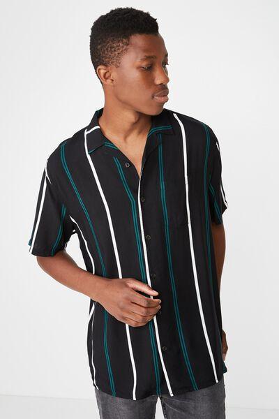 Festival Shirt, BLACK WHITE TEAL STRIPE