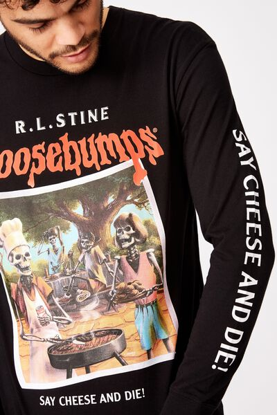 Tbar Collaboration Ls Tee, LCN SO BLACK/GOOSEBUMPS - SAY CHEESE AND DIE