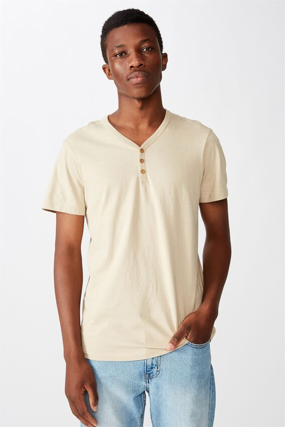 Essential Henley T-Shirt, STONE CLAY