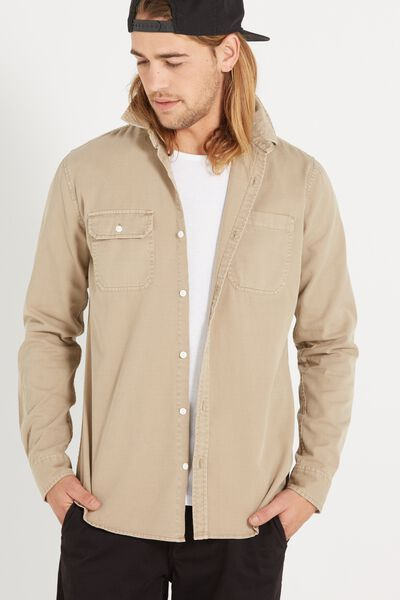 Worker Long Sleeve Shirt, SAND