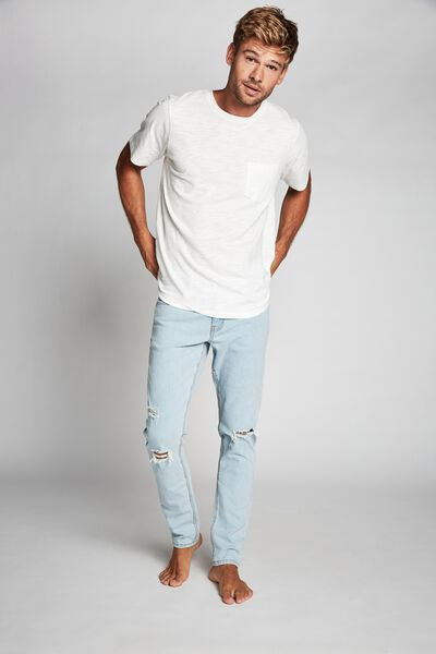 Slim Fit Jean, BLEACHER BLUE + RIPS