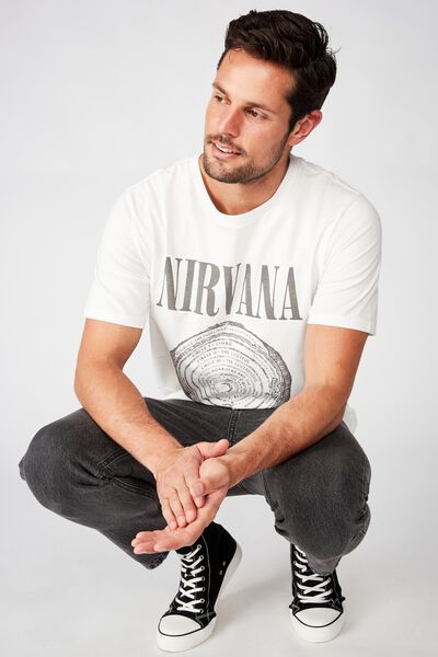 Tbar Collab Music T-Shirt, LCN LN SK8 VINTAGE WHITE/NIRVANA - SPIRAL