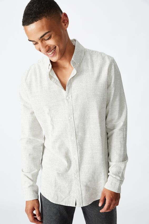 Textured Long Sleeve Shirt, WHITE FINE STRIPE