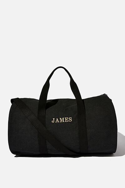 Word Barrel Duffle Personalised, WASHED BLACK CANVAS