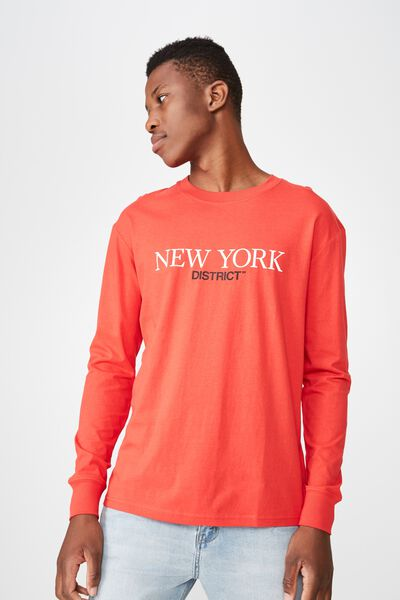Tbar Long Sleeve, STRONG RED/NEW YORK DISTRICT