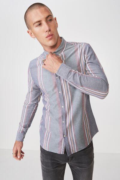 Brunswick Shirt 3, NAVY GREEN BURG BOLD STRIPE