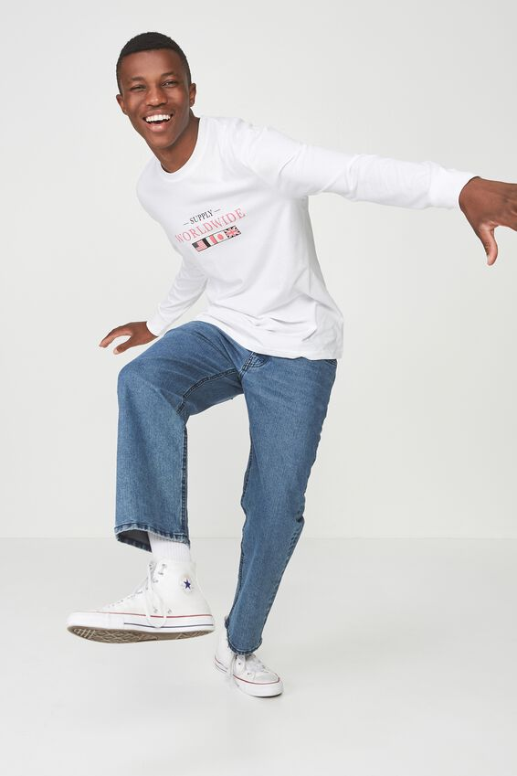Tbar Long Sleeve, WHITE/SUPPLY