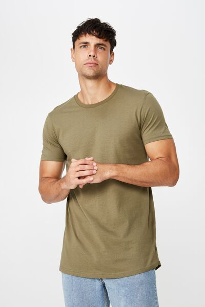 Essential Longline Curved Hem, JUNGLE KHAKI
