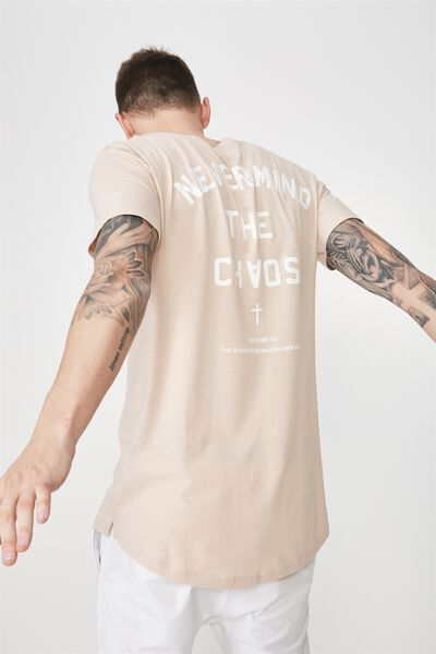 Longline Scoop Hem Tee, ROSE DUST/NEVER MIND THE CHAOS