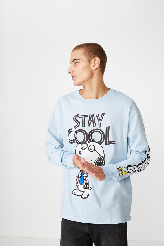 Tbar Collaboration Ls Tee, LC BLUE MIST/PEANUTS-STAY COOL