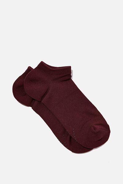 Performance Sneaker Sock, BURGUNDY