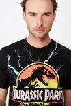 Jurassic Park T Shirt, LCN UNI BLACK/JURASSIC PARK LIGHTNING