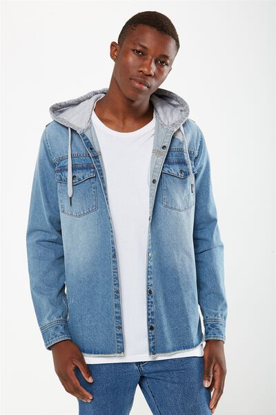 91 Hooded Shirt, BLUE RIP AND REPAIR