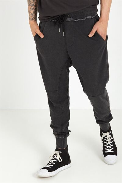 Customised Slouch Trackie, BLACK SNOW WASH #10