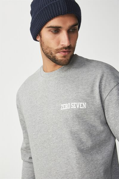 Drop Shoulder Crew Fleece, GREY MARLE/ZERO SEVEN