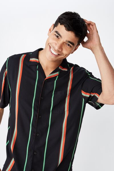 Festival Shirt, BLACK MULTI STRIPE