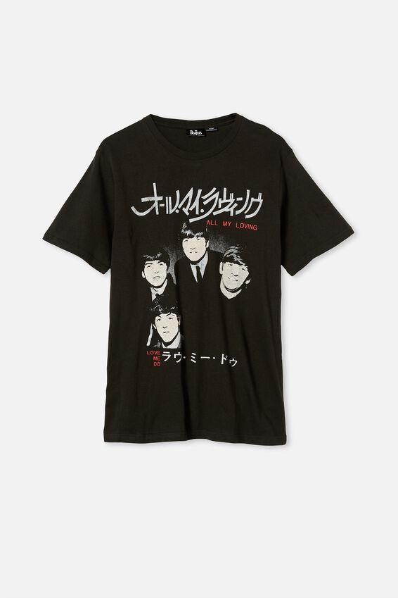 Tbar Collab Music T-Shirt, LCN APP WASHED BLACK/THE BEATLES-ALL MY LOVIN