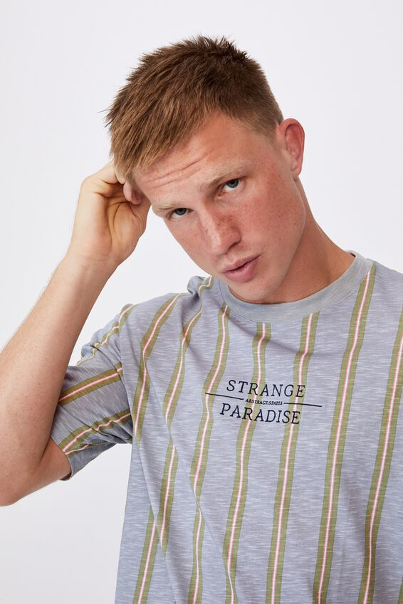 Downtown T-Shirt, STRANGE PARADISE BLUE MIST STRIPE