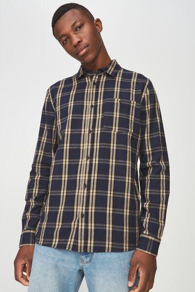 91 Flannel Check Shirt, NAVY TAN CHECK