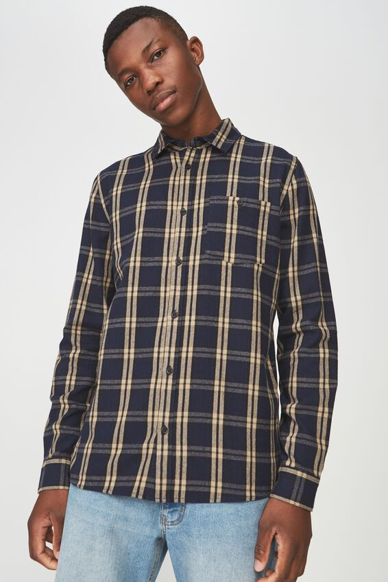91 Flannel Check Shirt, NAVY TAN CHECK
