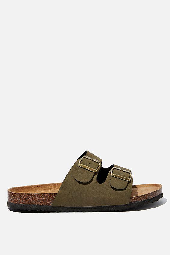 Double Buckle Sandal, KHAKI