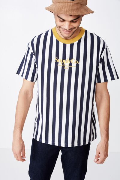 Downtown Loose Fit Tee, VINTAGE WHITE/TRUE NAVY/NUGGET GOLD/SUPPLY CO