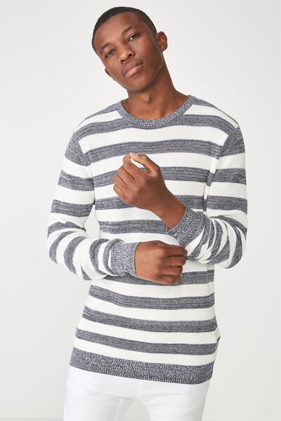 Lightweight Crew Sweater, NAVY MARLE STRIPE