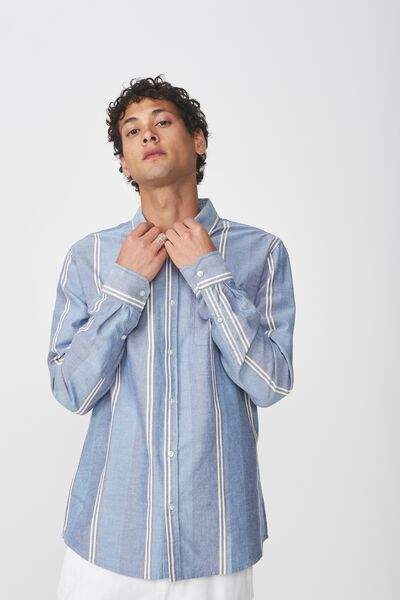 Brunswick Shirt 3, BLUE BLACK BOLD STRIPE