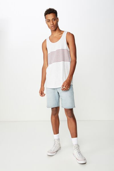 Tbar Tank, WHITE MARLE/INK NAVY/RACE RED STRIPE