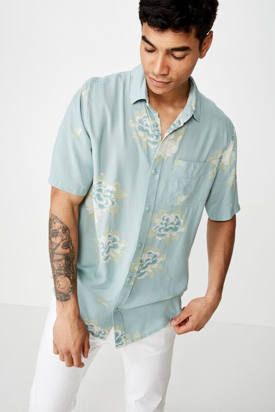 Short Sleeve Resort Shirt, MINT OVERSIZED FLORAL