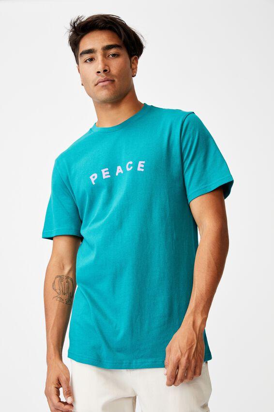 Tbar Text T-Shirt, TEAL POP/PEACE EMBROIDERY