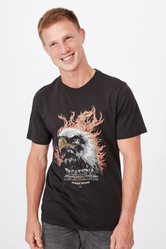 Tbar Moto T-Shirt, WASHED BLACK/PASADENA EAGLE