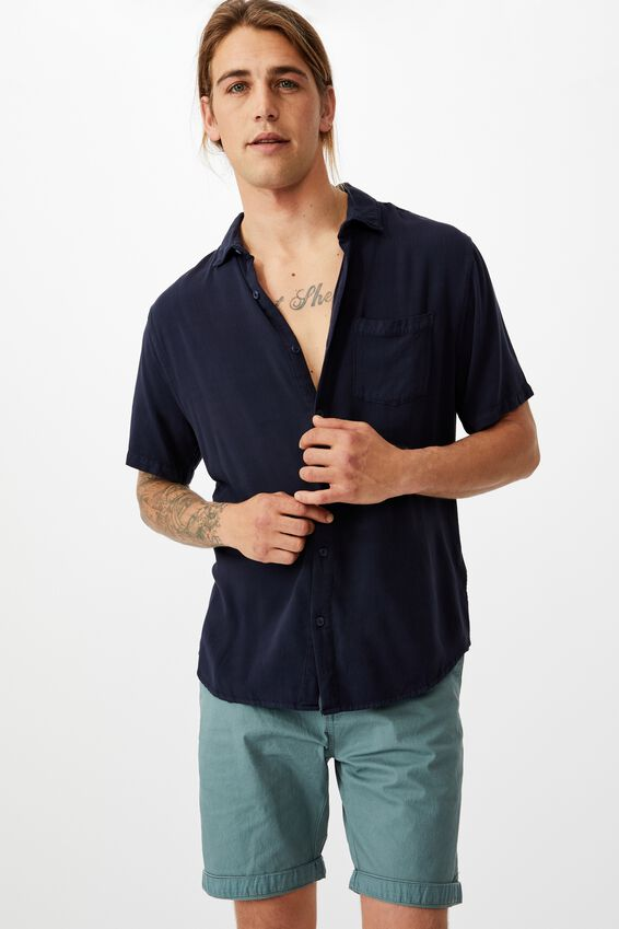 Washed Chino Short, PIGMENT TEAL