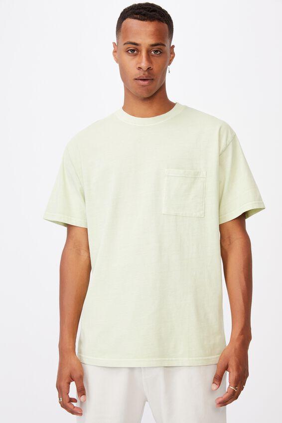 Washed Pocket T-Shirt, PASTEL GREEN