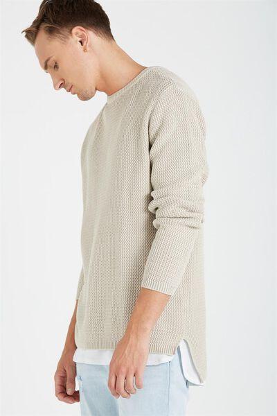 Split Hem Knit, SANDSTONE